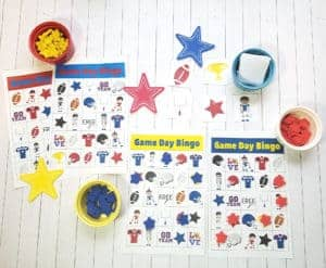 football bingo cards on a table