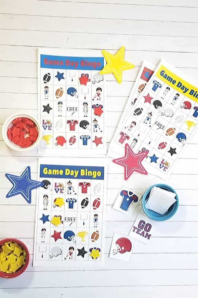 game day bingo cards football