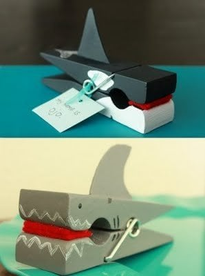 shark and whale craft made from clothespins