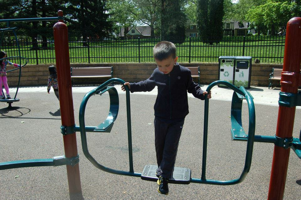 My little guy at the special needs playground at Cedar Beach, Allentown PA. (not a school playground)