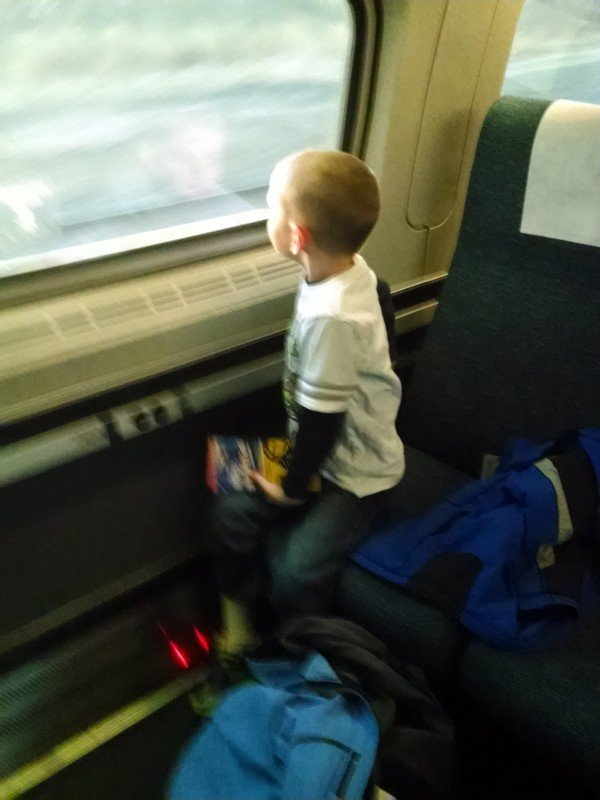 My little guy-very excited for his first train ride to NYC!