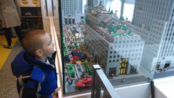 Looking at a LEGO replica of Rockefeller Center