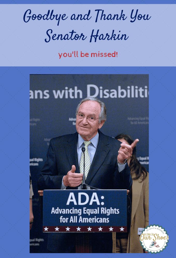 Senator Harkin says farewell~includes list of disabilities legislation accomplishments