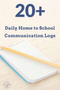 home to school communication forms logs opened notepad on table with pencil