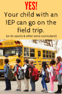 IEP field trip sports and extra curricular activities class lined up outside in front of a yellow bus to get on