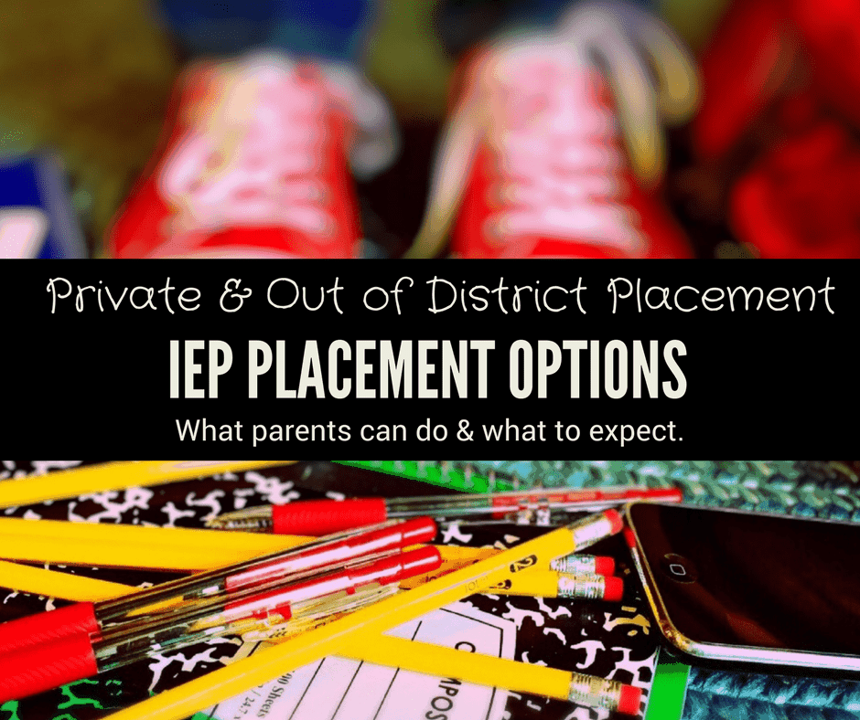 placement options for special education students private out of district pile of pencils pens notebooks on table