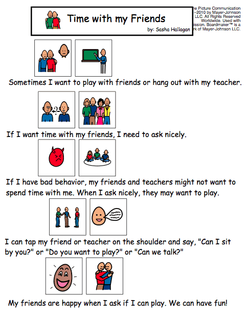 time with my friends social story examples