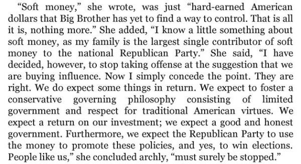 a quote from betsy devos stating that she expects influence in return for her donations