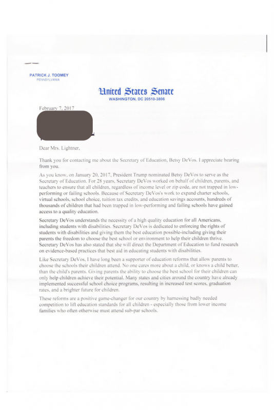 toomey devos letter