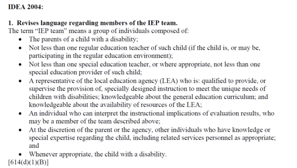 list of IEP team members