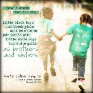 mlk dream quote two girls running together smiling