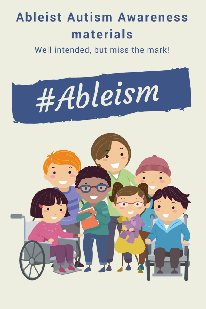 ableist autism awareness materials group of different aged cartoon drawn disabled characters standing together