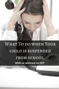 child suspended IEP what to do if child ends up suspended woman on the phone frustrated