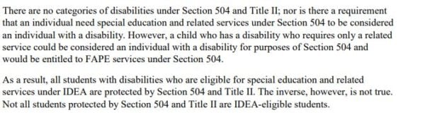 snippet from IDEA stating some 504 protections