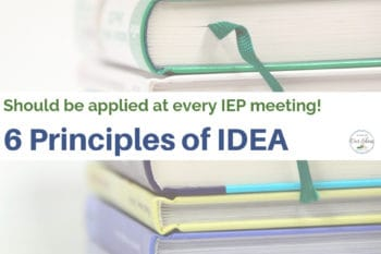 6 principles of IDEA for IEP meeting stack of books