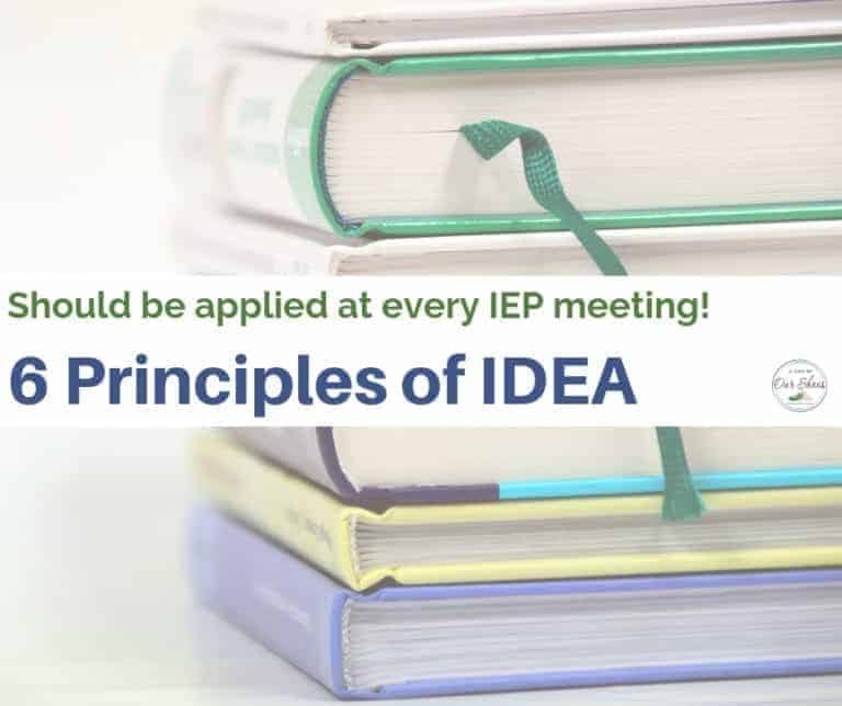 These 6 Principles of IDEA must be applied at every IEP meeting.