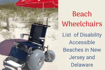 Beach Wheelchair and umbrellas on a NJ beach