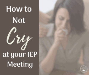 a woman crying at an iep meeting