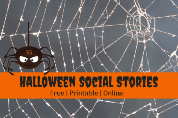 Halloween Social Stories printable free black spider in a spiderweb