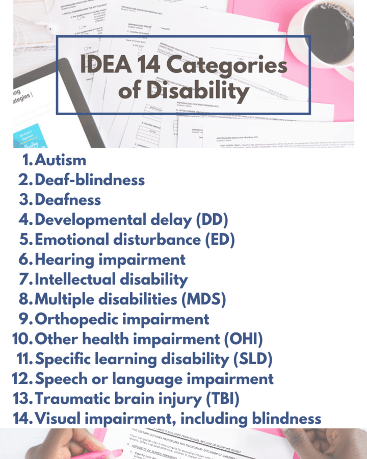 IDEA 14 categories of disabilities