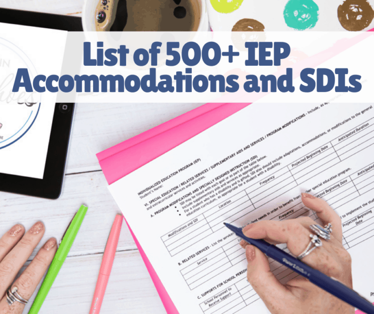 List of 500+ IEP Accommodations and Specially Designed Instruction Examples | Sensory | Printable