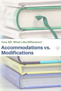 stack of books what is different IEP accommodation modification
