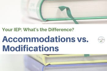 IEP accommodations modifications book stack