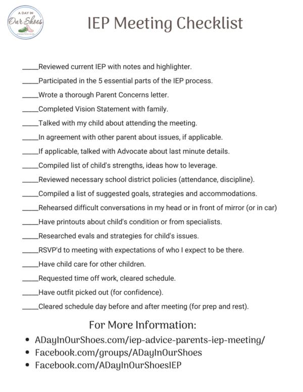 printable IEP meeting checklist