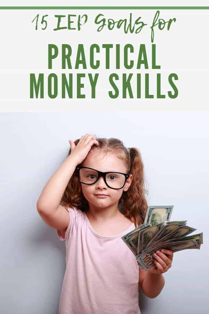 young girl with glasses holding a pile of money