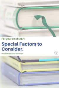 IEP special factors stack of books