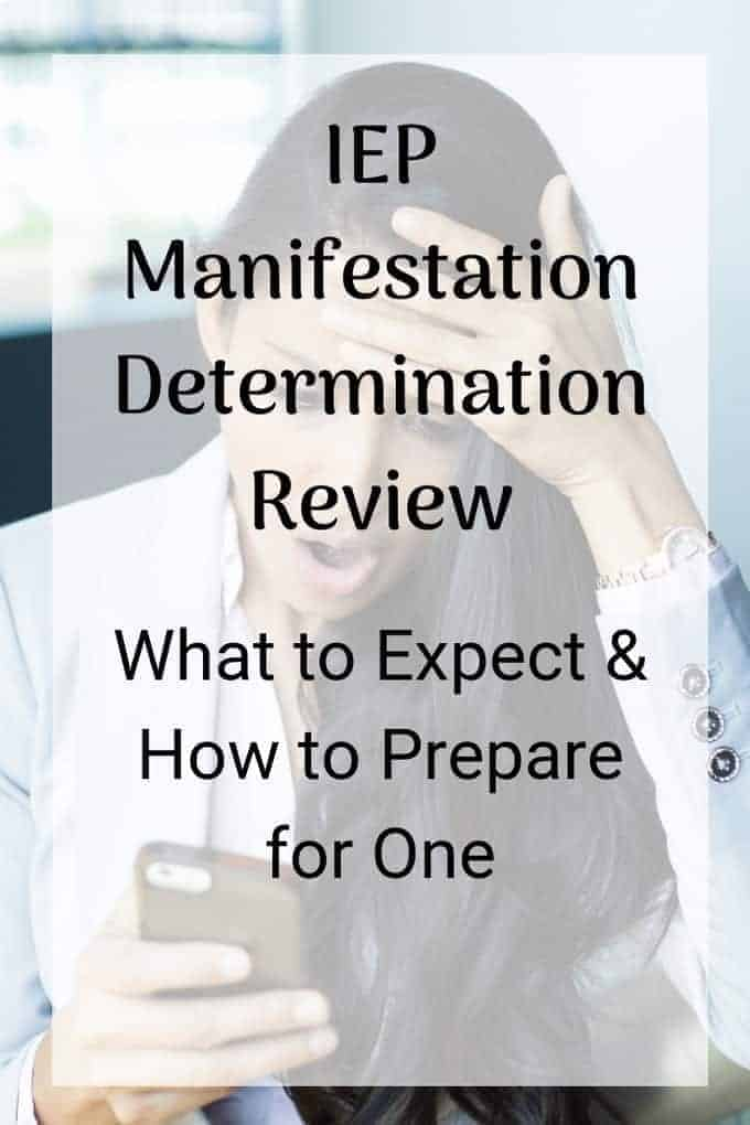Manifestation Determination Review woman looking at her phone looking shocked