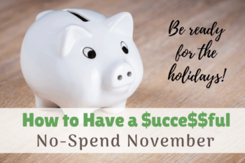 No Spend November Challenge white piggy bank