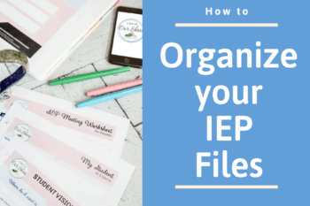 scattered iep files and binder on a desktop needing to be organized