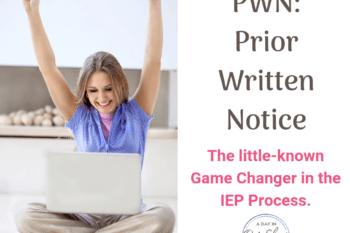 a mom on a computer happy about the prior written notice she received