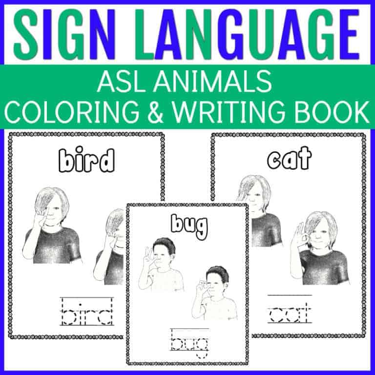 Sign Language Animals | FREE 13-page Coloring Book