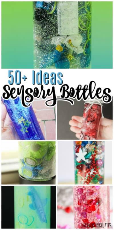 sensory bottles with glitter