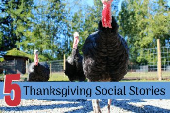 Social Stories for Thanksgiving turkeys in a group together walking around