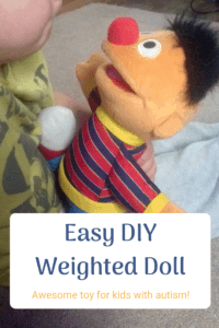 easy DIY weighted doll for kids child holding doll or stuffed animal