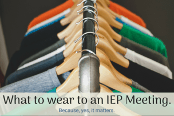 dress for IEP meeting t-shirts hanging up