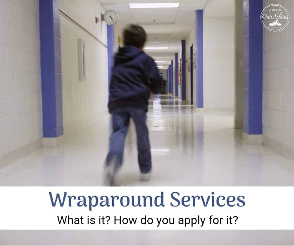 Wraparound Services child running down school hall and how to apply for it