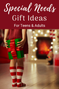 great gift ideas for teens and young adults with autism or other disabilities kid standing hiding a present there back