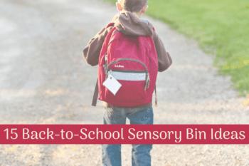 back to school sensory bins little boy wearing his backpack for school walking