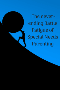 special needs parenting battle fatigue black and blue background with silhouette of man pushing a ball up a hill