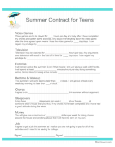 behavior contract teens