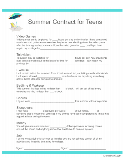 behavior contract teens for the summer printable page
