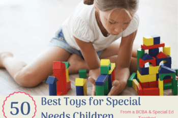 toys for special needs children from BCBA special Ed teacher little girl playing with blocks on the floor