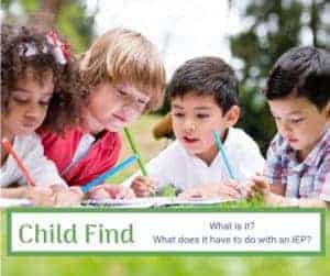 child find what it has to do with IEP children laying in grass with pencils and notebooks
