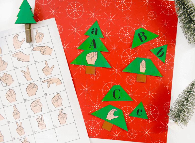 Christmas Tree Worksheet | ASL Printable Worksheet | Matching | Free