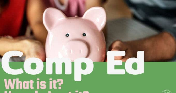 piggy bank holding a child's compensatory education fund