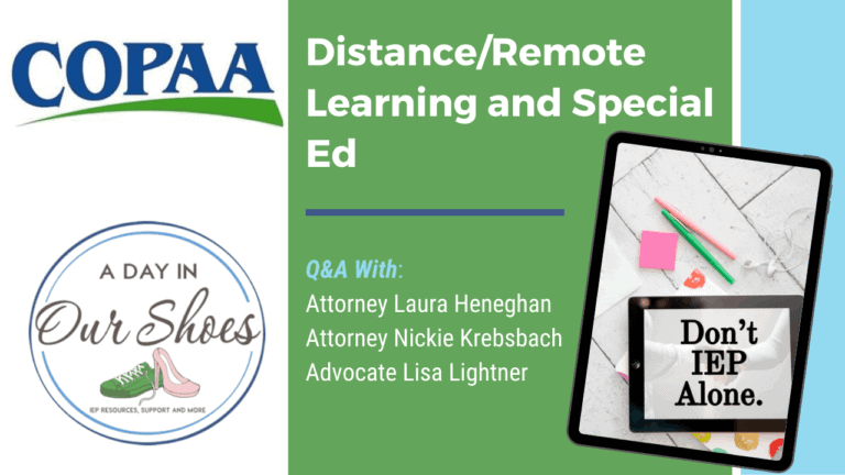 Attorney/Advocate Chat: Distance Learning and IEPs